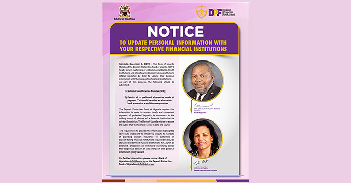 NOTICE: Update Personal Information With Your Respective Financial Institutions