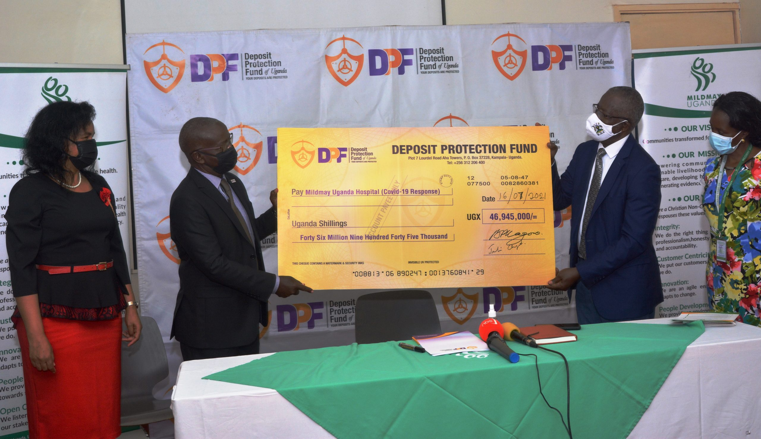 Deposit Protection Fund (DPF) Makes Donation Worth UGX 46,945,000 To Mildmay Uganda To Support Their Covid-19 Response